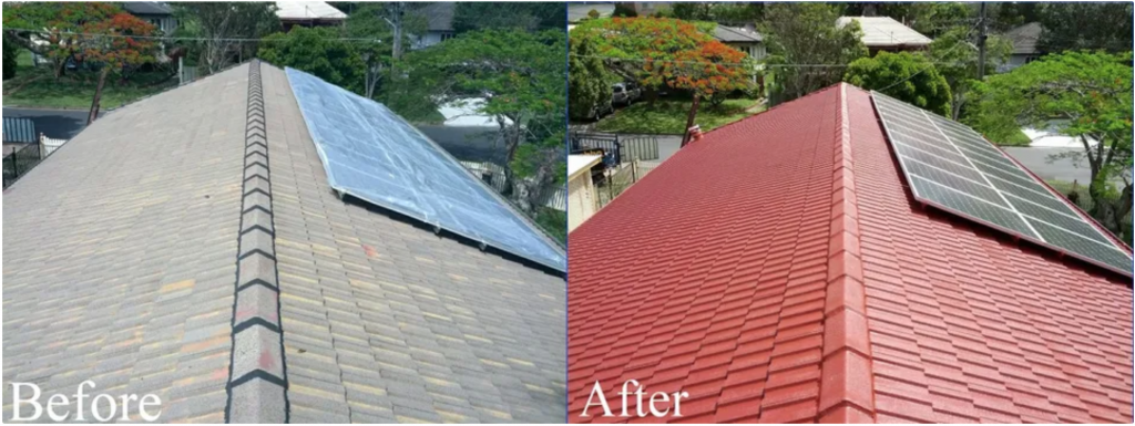 Before and after photo of painted roof